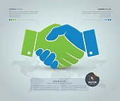 Handshake with world map on grey background. Vector Infographic template.