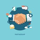 Partnership flat illustration with icons eps10