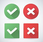 Set of web buttons green and red check marks