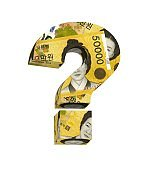 Question mark from korean won bill isolated over white.