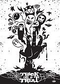 Halloween background with zombie hand and ghost