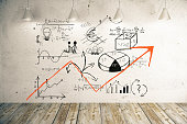 Business scheme with upward arrow