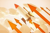 Startup rocket red arrows