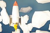 Startup rocket going up