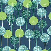 Abstract Trees Blue Seamless Pattern