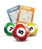 Bingo or lottery balls and tickets.