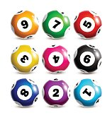 Colorful lottery balls.