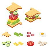 Set vector constructor isometric sandwich and hamburger ingredients