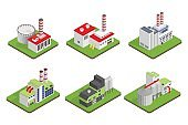 Icons and compositions of industrial building, isolated constructions, subjects isometric