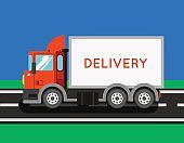 Delivery truck with container. Ton truck vector illustration.