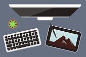 Flat lay Digital drawing tablet