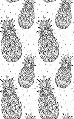 Seamless doodle texture with pineapple with boho pattern.