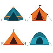 Collection of camping tents vector icon