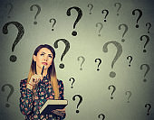 Thinking woman looking up at many questions mark