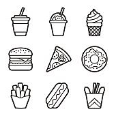 Fast food vector contour icon set