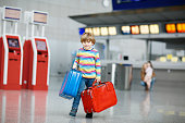 Little kid boy with suitcases on international airport