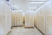Inside of Big Industrial Refrigerator Storage at -30 Celcius