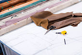 Tailor Clothing Accessory, Scissors, Illustration sketch and Fabrics