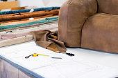 Tailor Accessory Scissors and Furniture Design Illustration Sketch