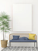 Interior with a stylish sofa and a canvas