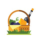 Basket with Wine and Cheese Icon