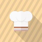Kitchenware chef's hat flat  icon