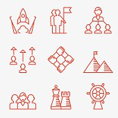 Business strategy and teamwork icons.