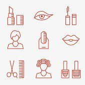 Female makeup cosmetic product icons