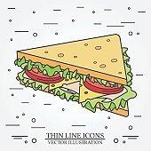 Vector thin line icon sandwich.