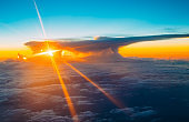 Beautiful Sunset Sunrise Over Mountains From Height Of Airplane,