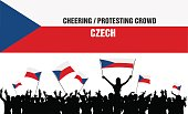 Cheering or Protesting Crowd Czech