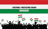 Cheering or Protesting Crowd Hungary