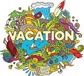 Doodle Summer Vacation Illustration