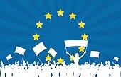 Celebrating Crowd with European Union flag