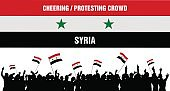 Cheering or Protesting Crowd Syria