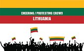 Cheering or Protesting Crowd Lithuania
