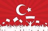 Cheering or Protesting Crowd with Turkey Flag