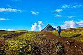 female hiker in the mountains, Iceland