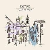 sketch drawing Church of Saint Tryphon in Kotor Montenegro
