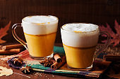 Pumpkin spiced latte or coffee. Autumn or winter hot drink.