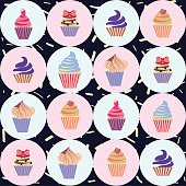 colorful seamless pattern with cupcakes