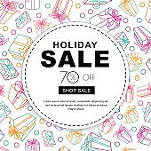Holiday sale banners with multicolor outline gift boxes and ribbons.