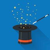 Abracadabra cartoon concept. Magic wand with stars sparks
