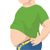 Abdomen fat, overweight man with a big belly. Vector illustration
