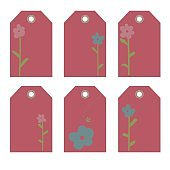 Romantic tags collection  with flowers, lettering.  Set of  invitations. Labels
