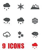 Vector grey snow icon set on white background