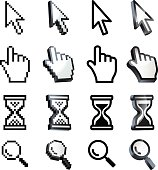 Cursor. Hand, arrow, hourglass, magnifying