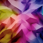 Photo of highly detailed multicolor polygon. Violet, blue, pink geometric