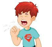 boy cartoon coughing for you design