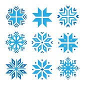 Christmas, winter blue snowflakes vector icons set